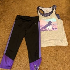 Justice dance top and leggings size 12-14